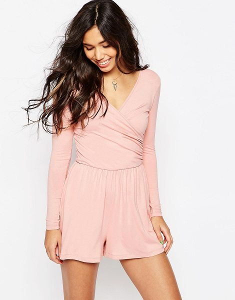 Asos Jersey ruched wrap front romper in rose pink - Romper by ASOS Collection Soft-touch jersey V-neckline...