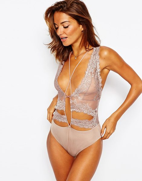 Asos Jessi strappy high apex bodysuit in mink - Body by ASOS Collection Sheer lace Deep v-neckline...