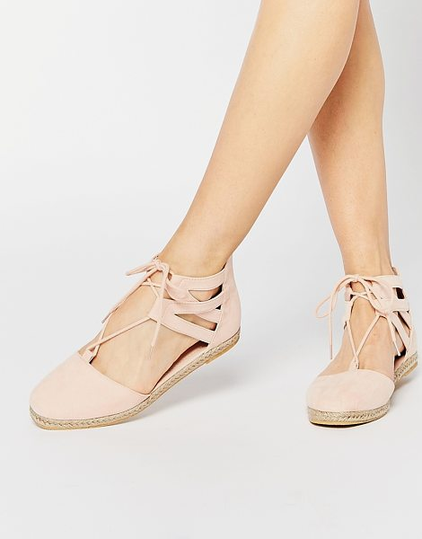 Asos JESSICA Lace Up Espadrilles in pink - Flat shoes by ASOS Collection, Suede-look upper, Lace-up...