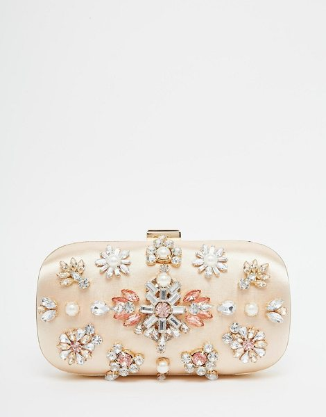 Asos Jewelled box clutch bag in gold - Clutch bag by ASOS Collection Satin outer Hard case...