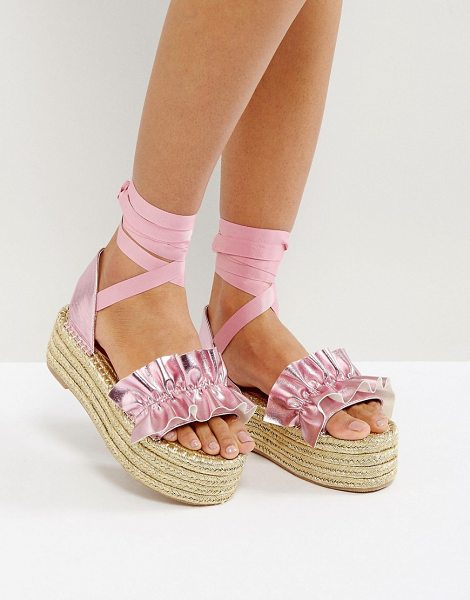 "Asos JEZZINA Ruffle Gold Espadrilles in pink - """"Espadrilles by ASOS Collection, Faux-leather upper,..."