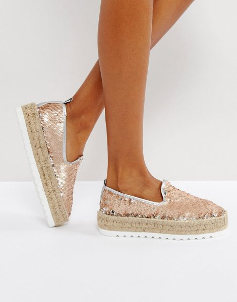 Asos JOCKEY PREMIUM Sequin Chunky Espadrilles in gold - Espadrilles by ASOS Collection, Sequinned upper, Slip-on...
