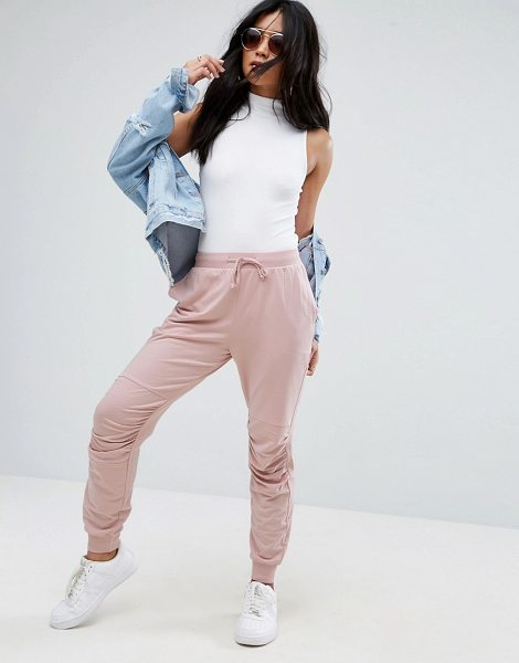 Asos Jogger With Ruched Detail in pink