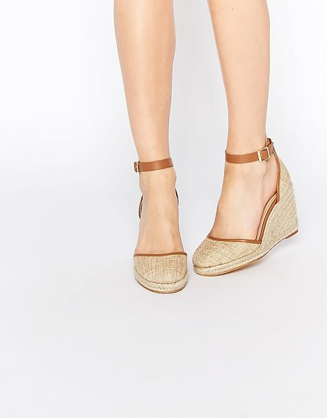 Asos JUICY Wedge Sandals in beige - Wedges by ASOS Collection, Canvas upper, Almond toe, Pin...