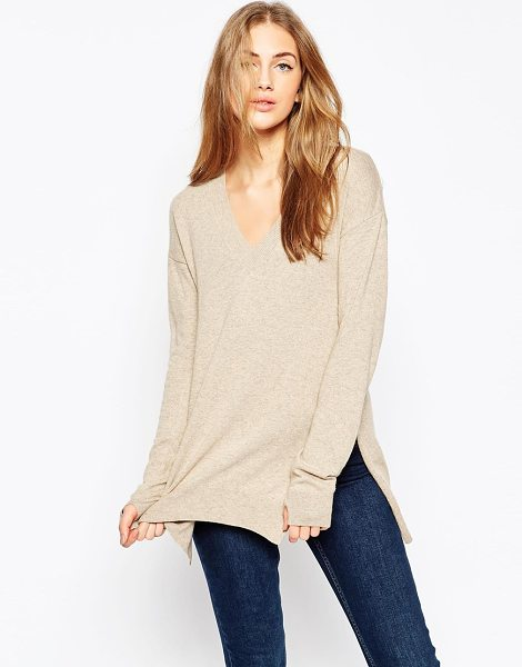ASOS Sweater with v-neck in cashmere mix - Sweater by ASOS Collection Lightweight knit V-neckline...