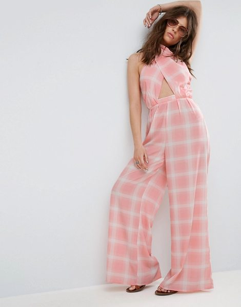 "Asos Jumpsuit in Check with Cross Front and Super Wide Leg in pink - """"Jumpsuit by ASOS Collection, Lightweight woven fabric,..."