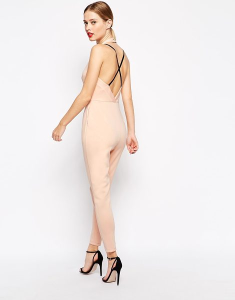 Asos Jumpsuit in scuba with contrast strap back in nude - Romper by ASOS Collection Smooth scuba Halterneck style...