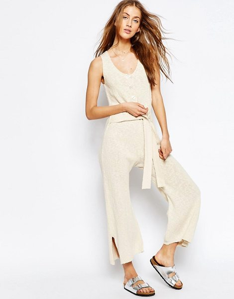 Asos Jumpsuit In Slub Yarn in cream - Jumpsuit by ASOS Collection, Soft-touch lightweight...