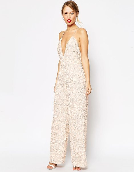 Asos Jumpsuit with all over sequin embellishment in pink - Jumpsuit by ASOS Collection, Heavyweight, beaded fabric,...