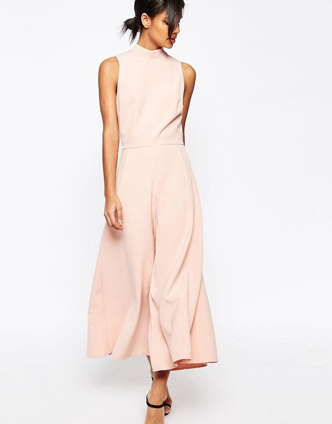 Asos Jumpsuit with culotte leg and high neck in nude - Jumpsuit by ASOS Collection Woven stretch fabric High...