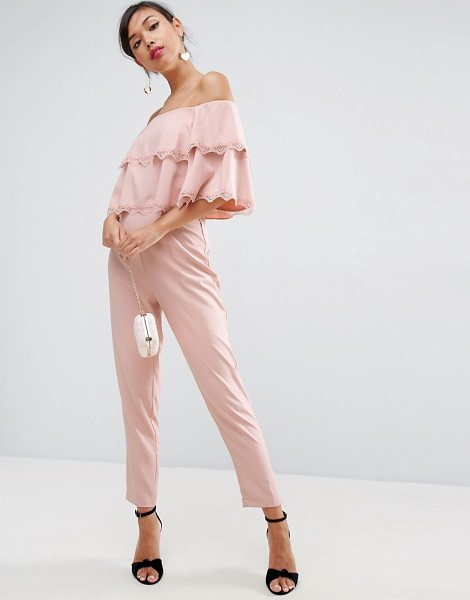 Asos Jumpsuit with Double Ruffle Bardot and Lace Trim Detail in pink - Jumpsuit by ASOS Collection, Lined woven fabric,...