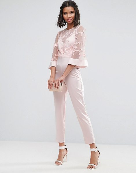 ASOS Jumpsuit with Lace Bodice and Contrast Satin Pant - Jumpsuit by ASOS Collection, Lace mesh bodice, Crew...