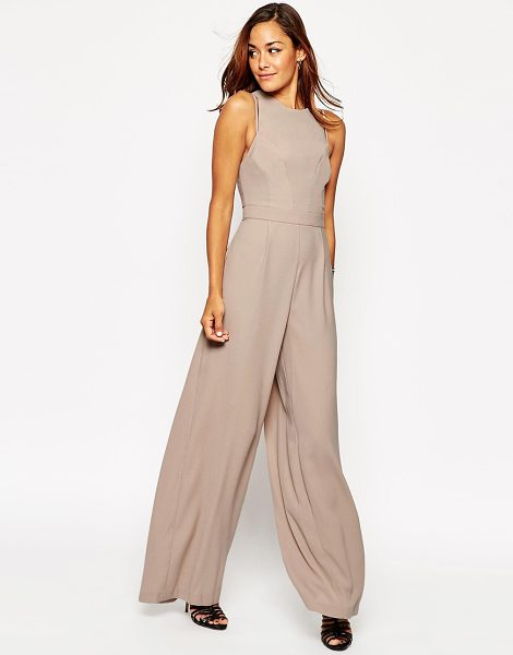 Asos Jumpsuit with Palazzo Leg and Strap Detail in stone - Jumpsuit by ASOS Collection, Lightweight fabric, Cut-out...