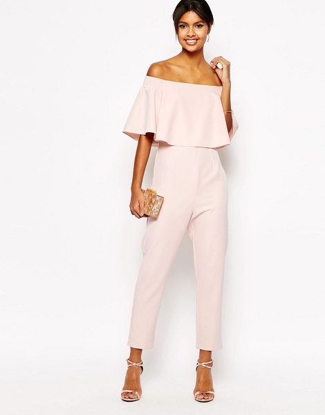 Asos Jumpsuit with ruffle bardot in pink