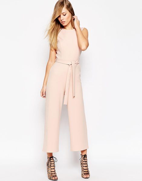 Asos Jumpsuit With Tie Waist and Culotte Leg in pink - Jumpsuit by ASOS Collection, Smooth woven fabric, Tie...