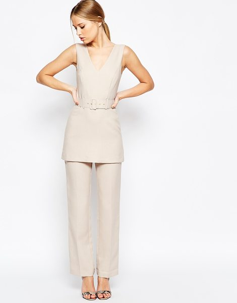 Asos Jumpsuit with Tunic Detail in beige - Romper by ASOS Collection, Structured woven fabric,...