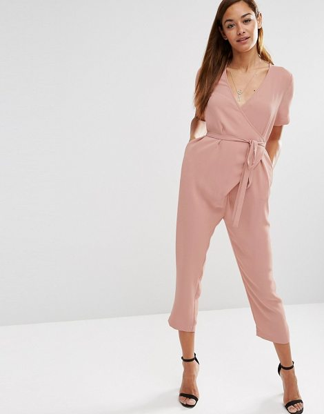 Asos Jumpsuit with Wrap And Self Tie in pink - Jumpsuit by ASOS Collection, Lightweight woven fabric,...