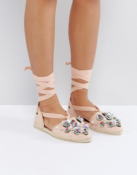 Asos JUTE Embellished Espadrilles in beige - Espadrilles by ASOS Collection, Textlie upper, Ankle-tie...
