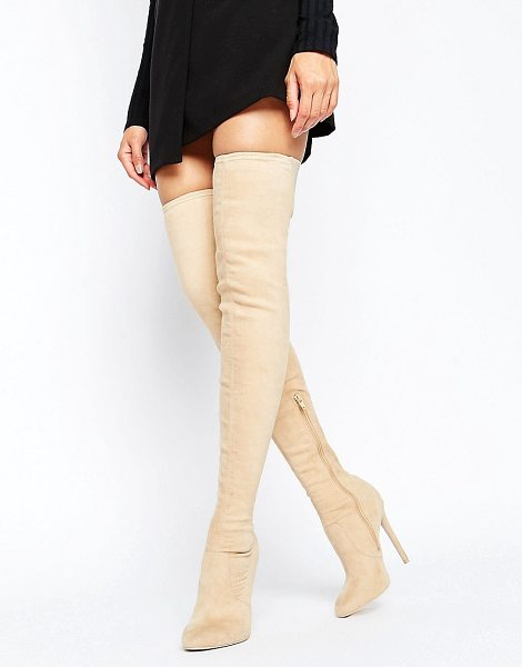 Asos KAMBER Stretch Over The Knee Boots in beige - Boots by ASOS Collection, Textile upper, Side zip...