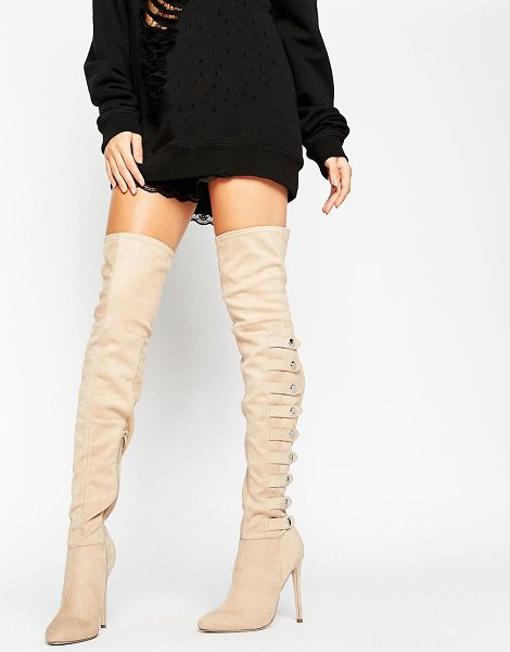 Asos KARIANNE Multi Strap Over The Knee Boots in beige - Boots by ASOS Collection, Faux-suede upper, Side zip...