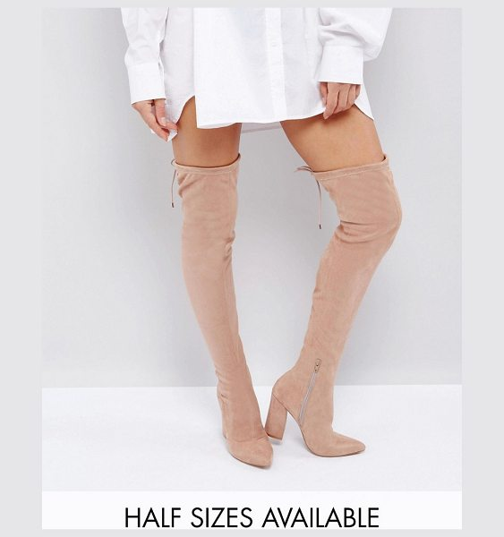 "Asos KARMA Pointy Over The Knee Boots in nude - """"Boots by ASOS Collection, Faux-suede upper, Side zip..."