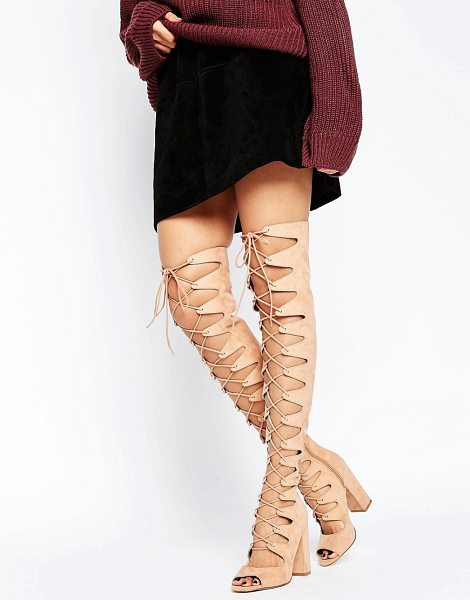 """ASOS KASSIN Lace Up Over The Knee Boots in beige - """"""""Boots by ASOS Collection, Textile upper, Lace-up..."""