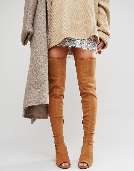 ASOS KASTOR Over The Knee Peep Toe Boots - Boots by ASOS Collection, Faux-suede upper,...