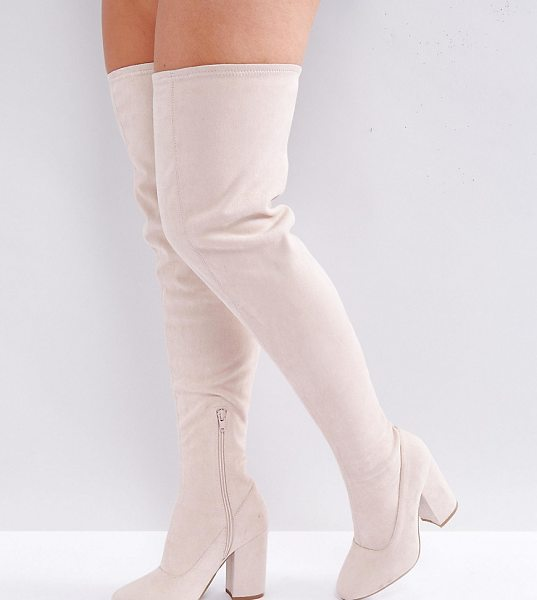 Asos KATCHER Wide Fit Heeled Over The Knee Boots in beige - Boots by ASOS Collection, Faux-suede upper, Side-zip...