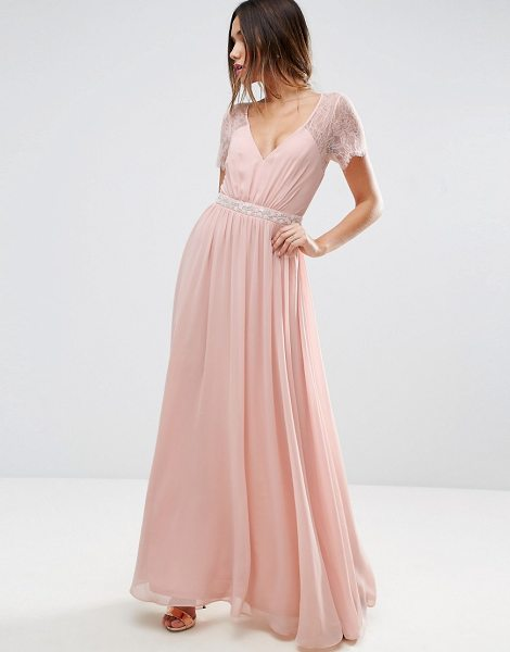 ASOS DESIGN asos kate lace embellished trim maxi dress in nude - Maxi dress by ASOS Collection, Woven fabric, Lace...