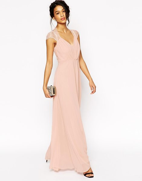 Asos Kate Lace Maxi Dress in pink - Dress by ASOS Collection, Mid-weight lined chiffon, Lace...