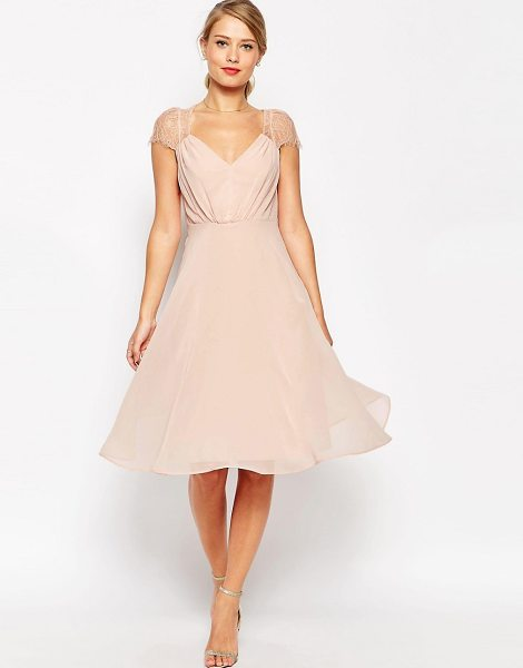 ASOS DESIGN asos kate lace midi dress in nude