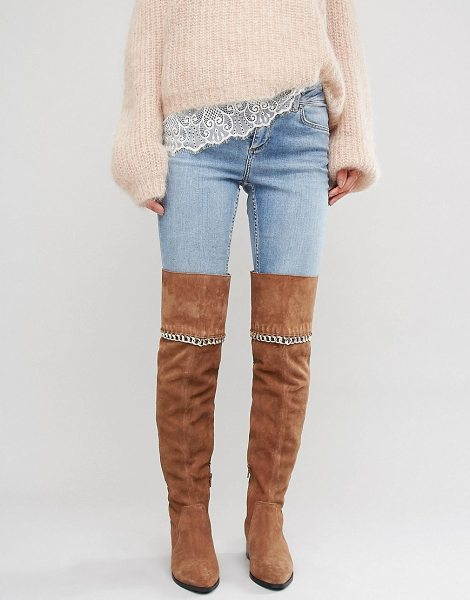"Asos KEETA Suede Chain Over The Knee Boots in tan - """"Boots by ASOS Collection, Suede upper, Side zip..."
