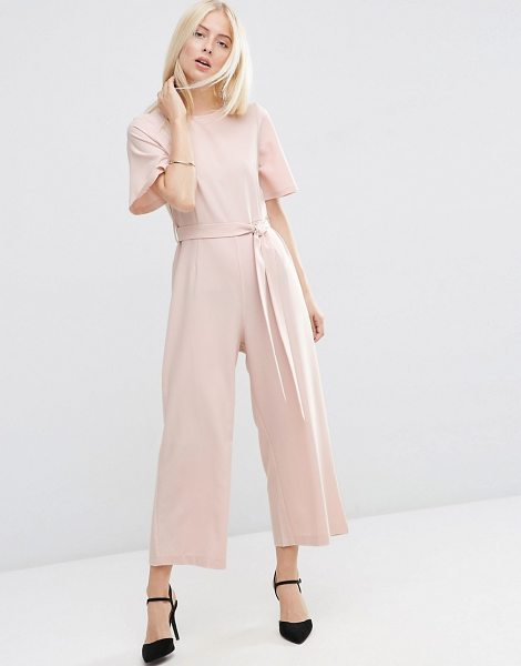 Asos Kimono Jumpsuit with Culotte Leg in pink - Jumpsuit by ASOS Collection, Woven fabric, Scoop...