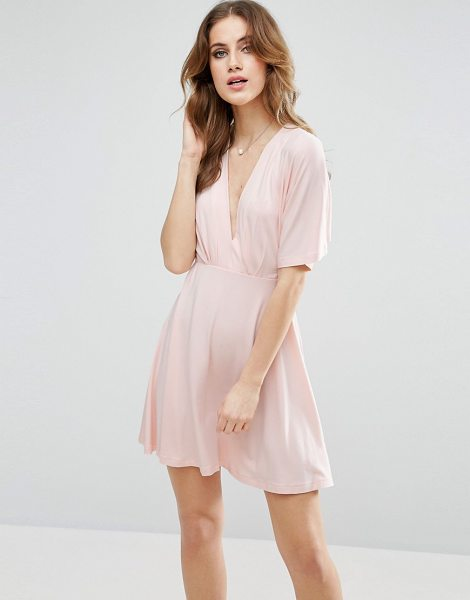 Asos Kimono Mini Dress in pink - Dress by ASOS Collection, Stretch jersey, Lightweight...