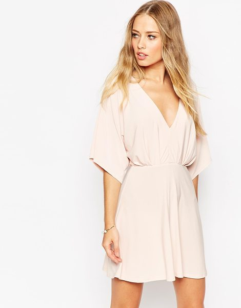 Asos Kimono plunge mini dress in pink - Evening dress by ASOS Collection, Lightweight,...