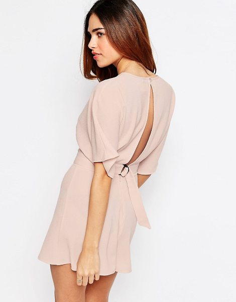 Asos Kimono romper with open back and d-ring in blush - Romper by ASOS Collection Lightweight, unlined crepe...