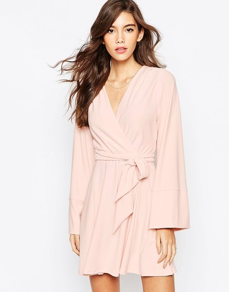 Asos Kimono wrap dress with tie waist in blush - Dress by ASOS Collection Mid-weight, stretch crepe...