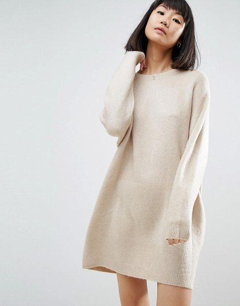 "Asos Knitted Dress with Crew Neck in Fluffy Yarn in camel - """"Dress by ASOS Collection, Soft-touch knit, Fluffy..."