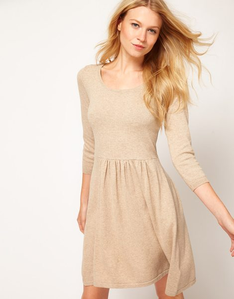 Asos Knitted dress with zip back in oatmeal - This dress by ASOS Collection has been crafted from a...