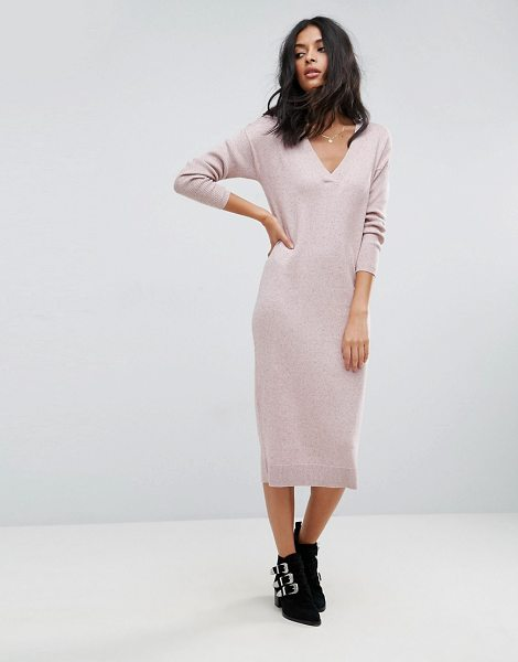 Asos Knitted Dress In Silk Blend in pink - Dress by ASOS Collection, Silk-mix knit, Ribbed finish,...