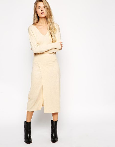 Asos Knitted midi dress with thigh split in oatmeal - Knit dress by ASOS Collection Soft touch, fine knit...