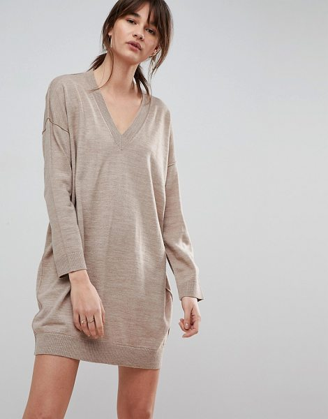 ASOS Knitted Mini Dress with V Neck - Dress by ASOS Collection, Some serious daytime inspiration...