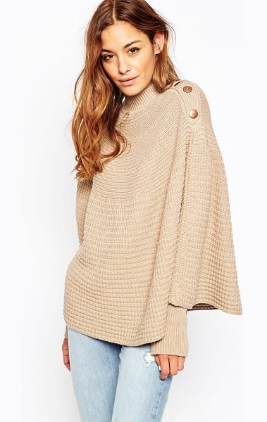 Asos Knitted Poncho in beige - Poncho by ASOS Collection, Textured knit, High neckline,...