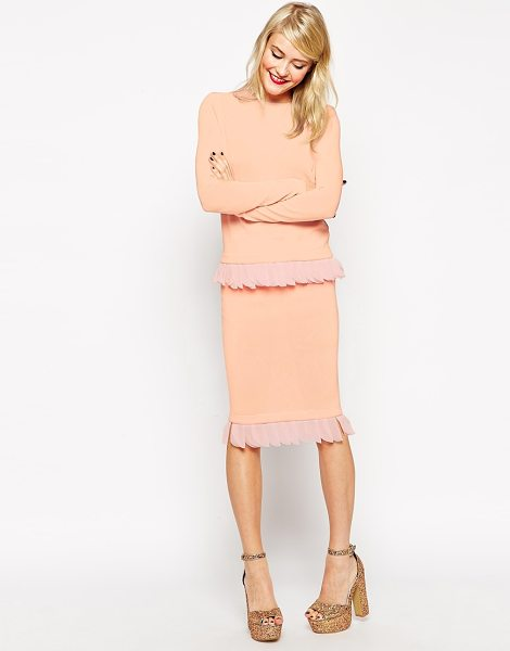 Asos Knitted skirt with petal trim in pink - Pencil skirt by ASOS Collection Lightweight, knitted...