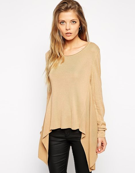 Asos Knitted top with hanky hem in camel - Top by ASOS Collection Fine knit Round neckline Dipped,...
