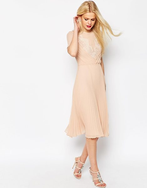 ASOS Lace and Pleat Skater Midi Dress in pink - Midi dress by ASOS Collection, Lightweight woven fabric,...