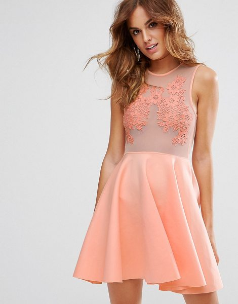 "ASOS Lace Applique & Mesh Mix Skater Mini Dress - """"Skater dress by ASOS Collection, Semi-sheer mesh,..."
