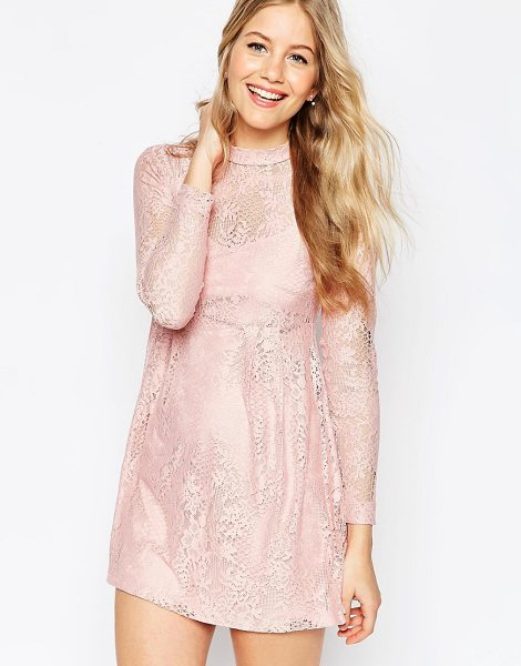 Asos Lace Babydoll Dress in pink - Dress by ASOS Collection, Semi-sheer lace, High...