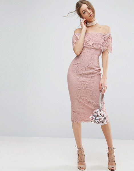 "Asos Lace Bardot Midi Pencil Dress in pink - """"Midi dress by ASOS Collection, Lined lace, Bardot..."