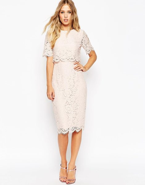 ASOS Lace Crop Top Midi Pencil Dress - Pencil dress by ASOS Collection, Lightweight lined lace,...